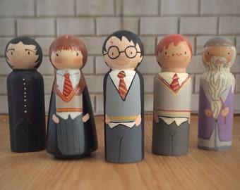 Harry Potter Peg Doll set / busy bag toddler / quiet toys for kids / Quiet time toys / Hermione  / unique gift /  Busy Bag / Busy bag Toys
