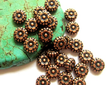 30 Copper beads flower spacers jewelry making supplies 7mm x 3mm lead free nickel free R LF0264 round flower beads HP(W6),