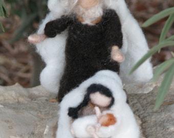 Needle felted Christmas nativity