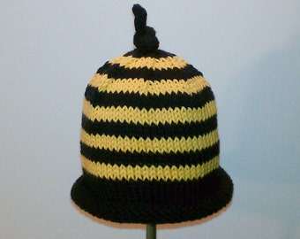 PDF PATTERN: Busy Bee Hand Knit Striped Hat From The Bee Collection For Babies, Toddlers & Children