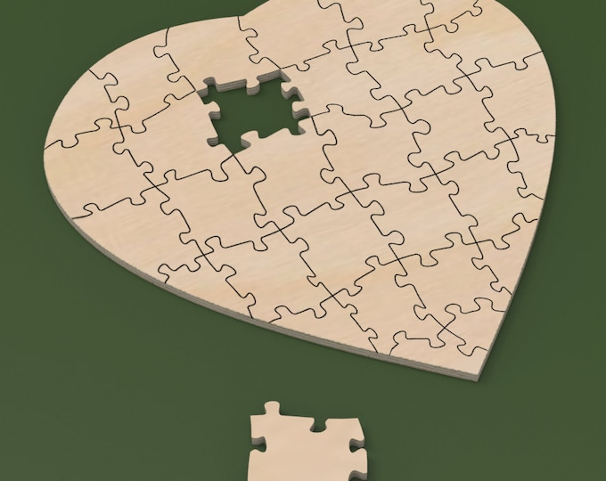 "24"" x 24"" Custom Heart Shaped 30 piece Rustic Guest Book Wedding Puzzle for rustic or cottage chic wedding."