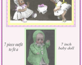 Vintage 7 piece knitting pattern to fit a 7 inch baby doll