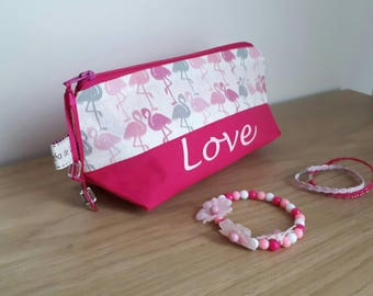 "Toiletry bag personalized pink flamingos ""Love"". In stock."