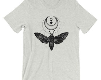 Moth Shirt In White Ash, Crescent Moon Unisex Graphic Tee, Insect Clothing, Short-Sleeve Workout T-Shirt