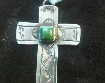 Handmade Sterling silver Natural Turquoise Cross Pendant