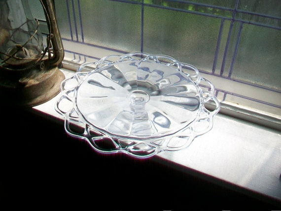 Glass Cake Stand Open Lace Edge Vintage 1950s