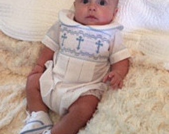 Boy Baptism // Blue Crosses // Boy Smocked Outfit