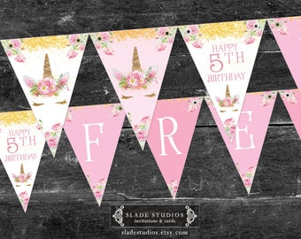 Unicorn birthday party bunting flags. Pink vintage rose and gold Unicorn face party bunting flags printable.