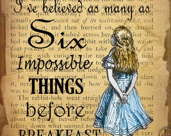 Alice  In Wonderland Six Impossible Things Quote Vintage Retro Style Metal Sign Home Decor Ideal Gift
