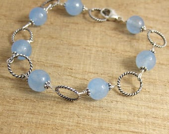 Bracelet with Blue Quartz Beads and Oxidized, Sterling Silver Loops CB-59