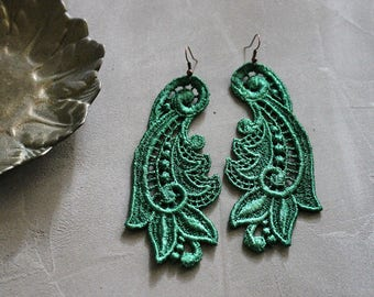 emerald lace earrings -CALLISTA- long earrings, wedding earrings, statement earrings, victorian, large earrings, girlfriend gift, boho