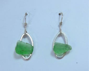 Littest's Mermaid's Tears Earrings - Green sea glass from South Shore, Nova Scotia, Canada on small silverplate oval