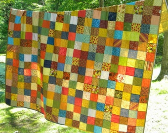 Patchwork Quilt Queen Size--93X93--Warm Earthtone colors cotton blanket