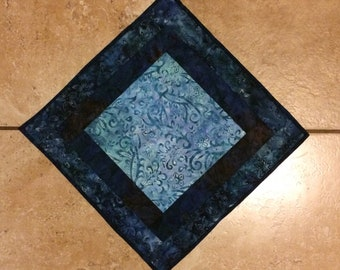 Blue batik table topper, blue table runner, quilted table topper, hand quilted table topper, blue quilted table topper, quilted table runner