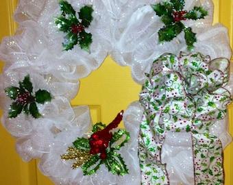 Cardinal and Holly Holiday Wreath