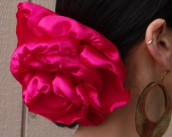 Hot Pink GIANT Hair clip - Belly dance hair accessory - Flamenco flower - Tango Flower - Dress-up, casual - day of the dead - Freeda