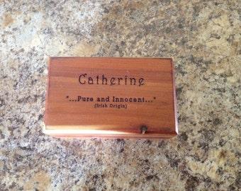 Personalized Trinket Memory Box Custom Laser Engraved Cedar Box