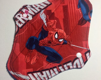 """10 """" Light Absorbency Cotton Top Cloth Pad/Mama Cloth/Rumps in Marvel Comic/ Spider Man Print"""