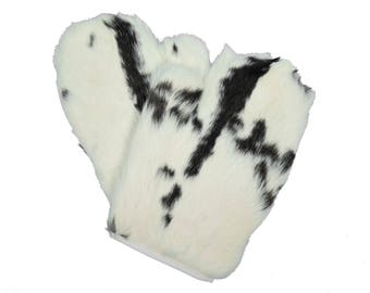 Rabbit Fur Massage Mitts (Pair): Spotted Black & White (696-9SP)