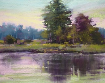 Quiet Evening Lowcountry River reflections 18x24 Original Pastel Painting