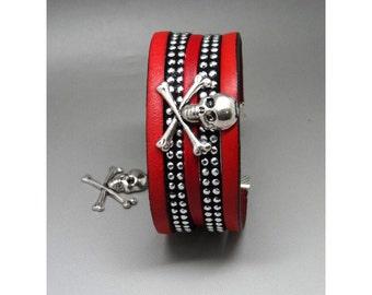 Bracelet red and black skull rock