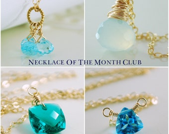 Necklace of the Month Club Six Month Subscription Sterling Silver Gold Gemstone Pearl Jewelry Complimentary Shipping