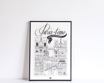 Paris IV / A4 / Docteur Paper / Travel With Me / Illustration / Voyage / Affiche / Ville / Décoration murale / Noir et Blanc / Map / Design