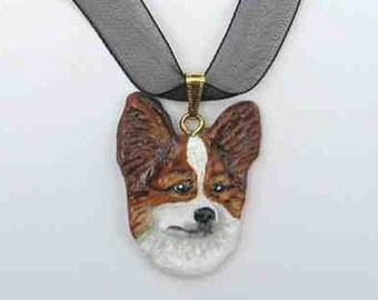 Dog Breed PAPILLON Handpainted Clay Necklace/Pendant CHOOSE Brown or Black