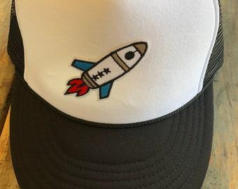 YOUTH / TEEN Rocket Patch Trucker Hat Baseball Cap Snap Back