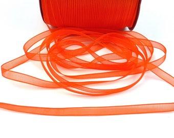 10 meters of 7mm - orange organza Ribbon