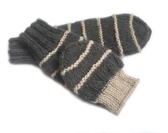 Beige convertible mittens/ convertible mittens/ finger flip mittens/ flip top gloves/ arm warmers/ glittens