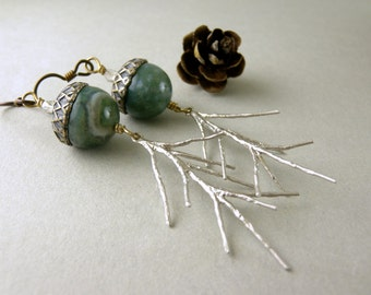 Wintergreen Jasper Stone Acorns and Silver Pine Needles Earrings with Free USA Shipping
