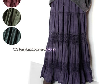 3Color】Deep Washed Switch Knit Tiered Flare Long Skirt Cotton Boho Ethnic Asian Hippie Hippy Peasant  Maroon Purple Indigo
