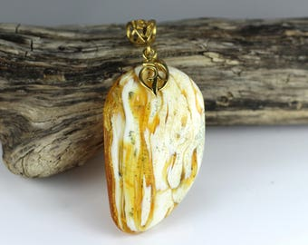 BIG Baltic Amber Pendant 8.6 grams Royal White color with inclusion, Amber Jewelry, Gold plated 925 Sterling Silver & Natural Amber Necklace