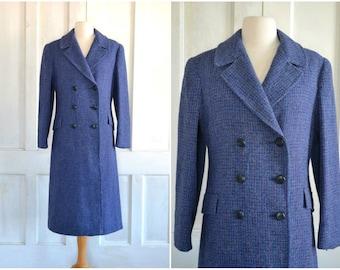 70s Harris Tweed Coat Purple Heather Wool Coat