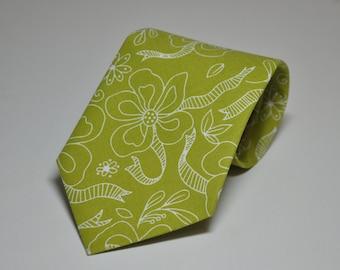 Childrens Necktie Chartreuse Green Ribbon Floral Boy's Tie