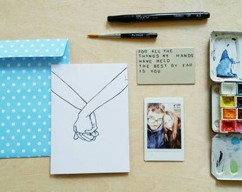 anniversary gift   custom aluminum love note  holding hands    with print & envelope