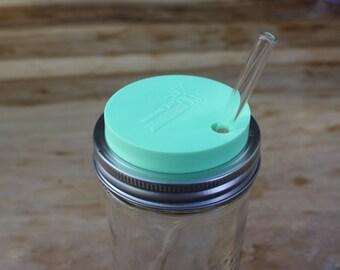Mason Jar Tumbler Lid | Mason Jar Straw Hole Lids | Drinking Lids for Wide Mouth Mason Jars | Mint, Coral, Grey, or Blue