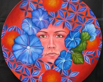 """SUNRISE MUSE Original Oil Painting 16"""" diameter on wood"""