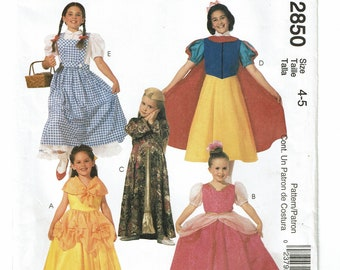 McCalls Costumes Pattern 2850 Children's/Girls' Classic Character Costumes Size 4-5 UNCUT