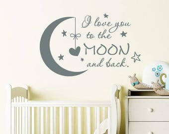 I Love You to the Moon and Back Wall Decal Nursery Quote Decals Moon Stars Wall Sticker Nursery Vinyl Stickers Wall Decor Kids Children F1