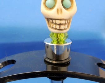 Lime Margarita, Turquoise Skull Wine stopper, green Beads  Dia De Muertos Day of the Dead  Gift HALLOWEEN