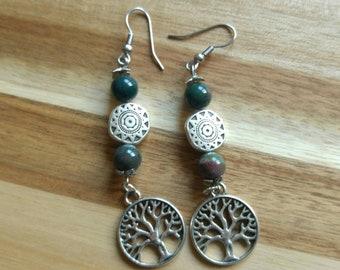 Tree of Life Earrings (Boodstone)