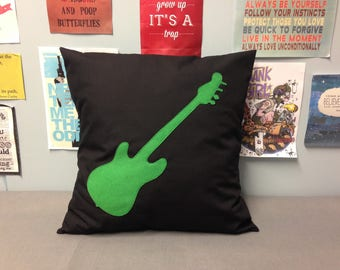 Rock & Roll Black Cotton Pillow Cushion Cover Green Guitar Felt Music Applique Teenage Bedroom Playroom 14 16 18 20 22 24 inch size