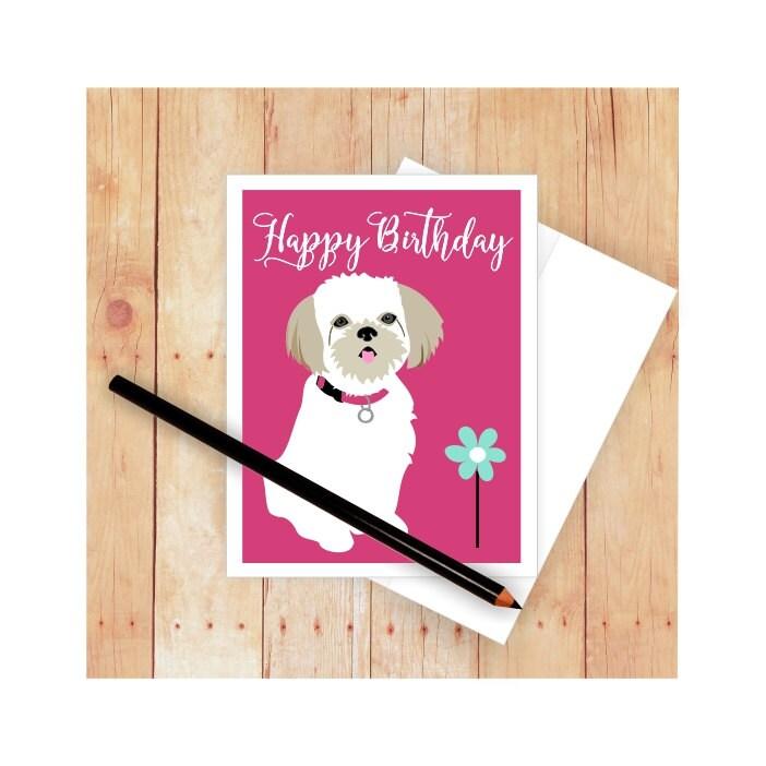 Shih Tzu tarjeta tarjeta de cumpleaños del perro perro