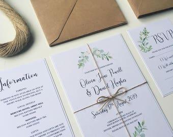 Greenery Wedding Invitation set. Simple and elegant wedding invitations with green leaves and flower design. Rustic twine and boho flowers