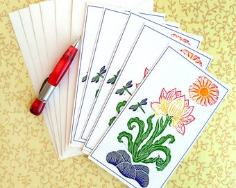 Hand Made Stationery, Dragonlily Correspondence Slips Set of Six