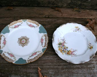 Set of Two Beautiful Shabby Chic / Romantic China Plates
