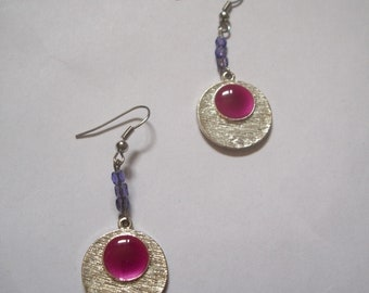 Beads and silver charms and fuschia earrings