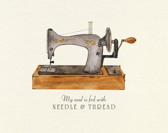 Antique Sewing Machine Unframed Watercolor Art Print